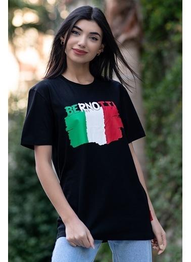 Bernotti 79 Siyah Baskı Detaylı Sıfır Yaka Kadın T-Shirt Siyah